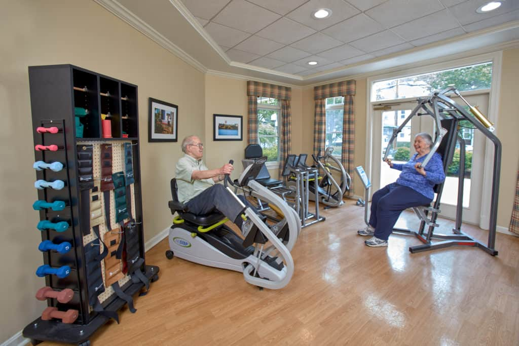 Goddard residents in the fitness studio