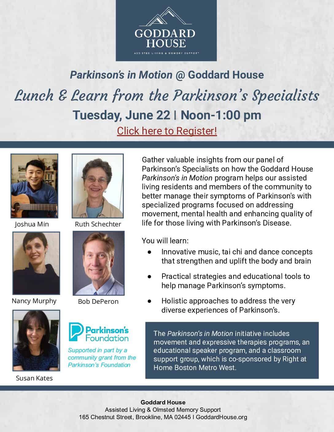 Lunch and Learn from the Parkinson's Specialists